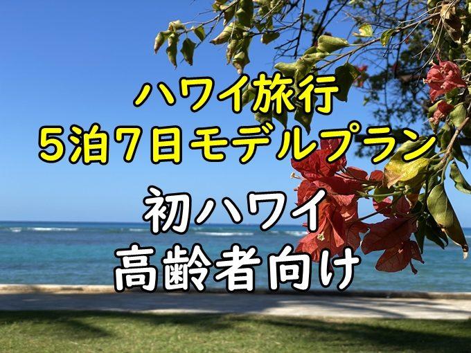 ハワイ旅行5泊7日モデルプラン|高齢者向け喜寿バウリニューアルプラン
